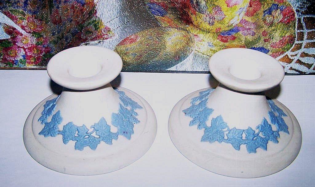 ECanada Art Pottery Candle Stick Holders White Jasperware Blue Decoration