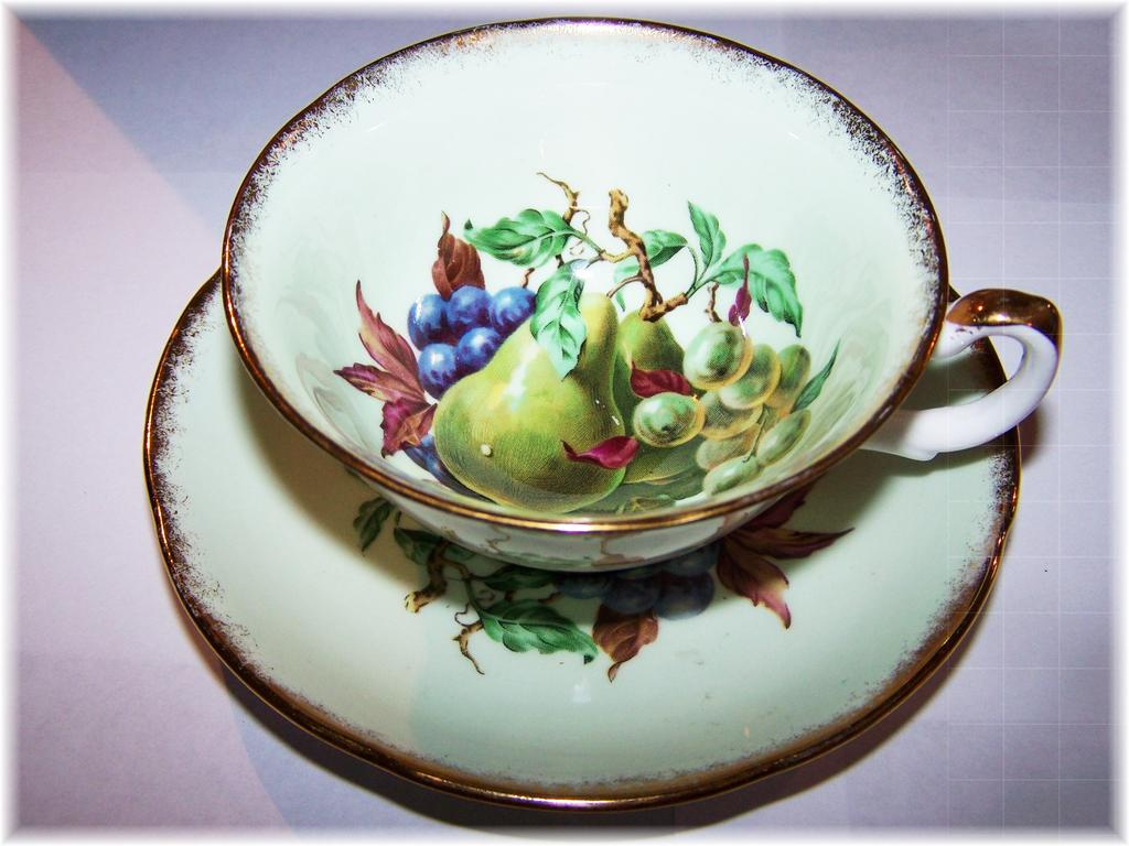 Fruit Pears ,Grapes, Cherries Teacup & Saucer Royal Grafton