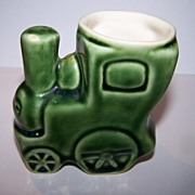 Green Porcelain Choo Choo Train Egg Cup C. 1930's