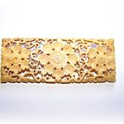 Early Carved Pierced Bone Brooch / Pin Floral Pattern