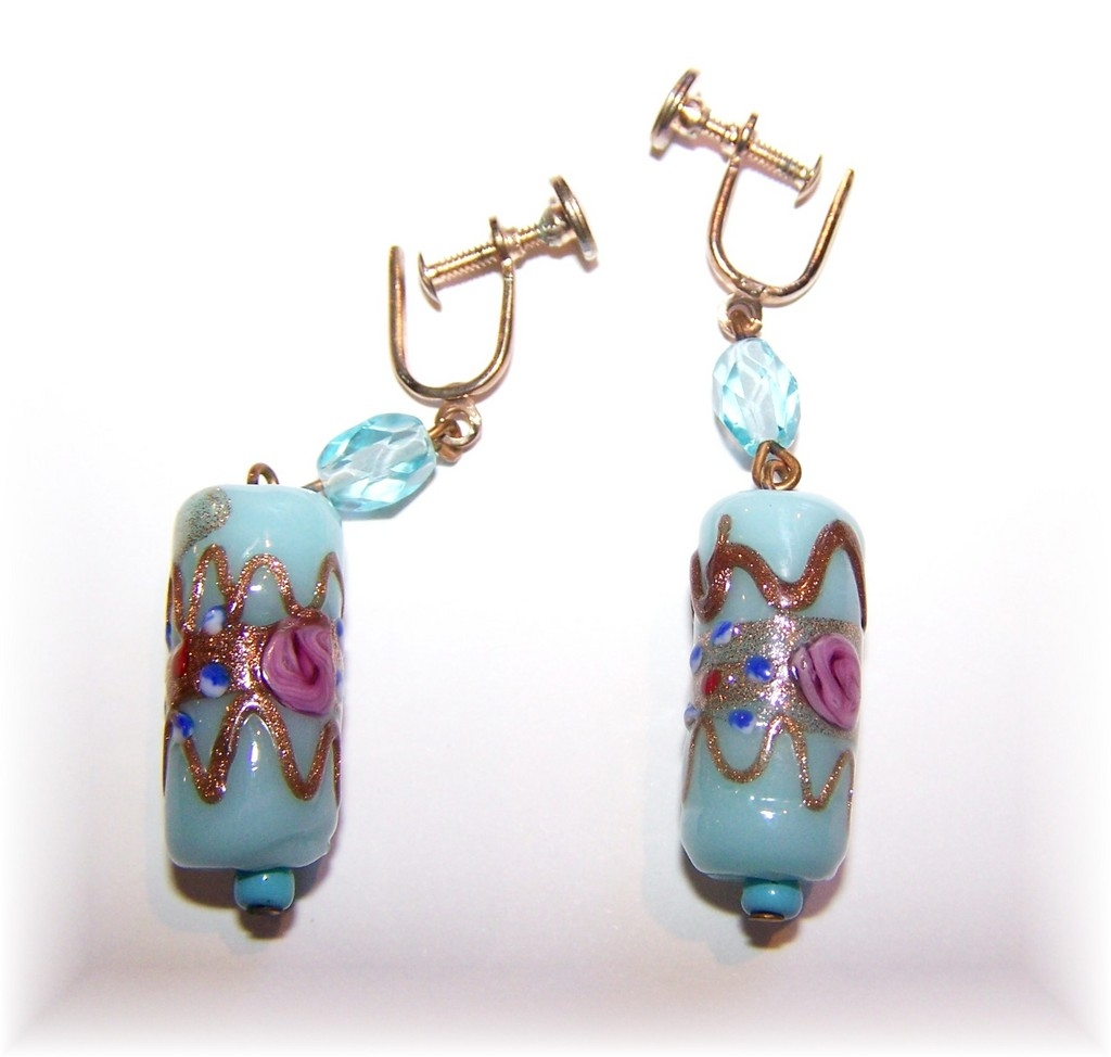 Blue venetian glass wedding cake hand decorated earrings for L furniture warehouse victoria bc