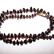 "Vintage Polished Garnet Chip Necklace 68 Grams 22"" long"