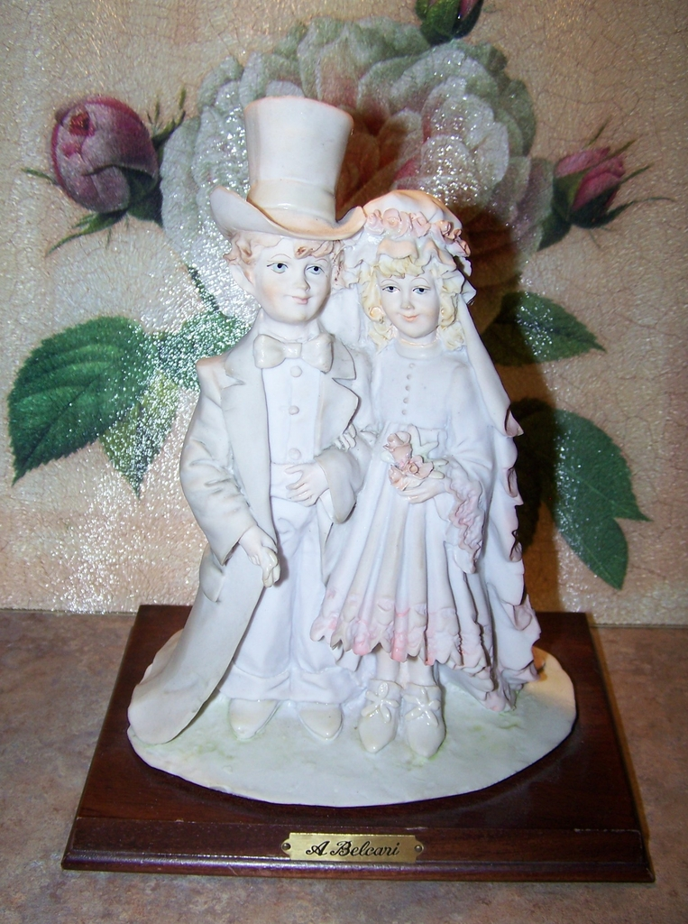 "A. Belcari Art Sculpture Statue  Bride Groom Figurine by Arnart C. 1985 ""Dear"""