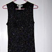 Vintage Ronni Nicole Size 10 Petite Glittery Black Stretch Disco Dress C.1980's