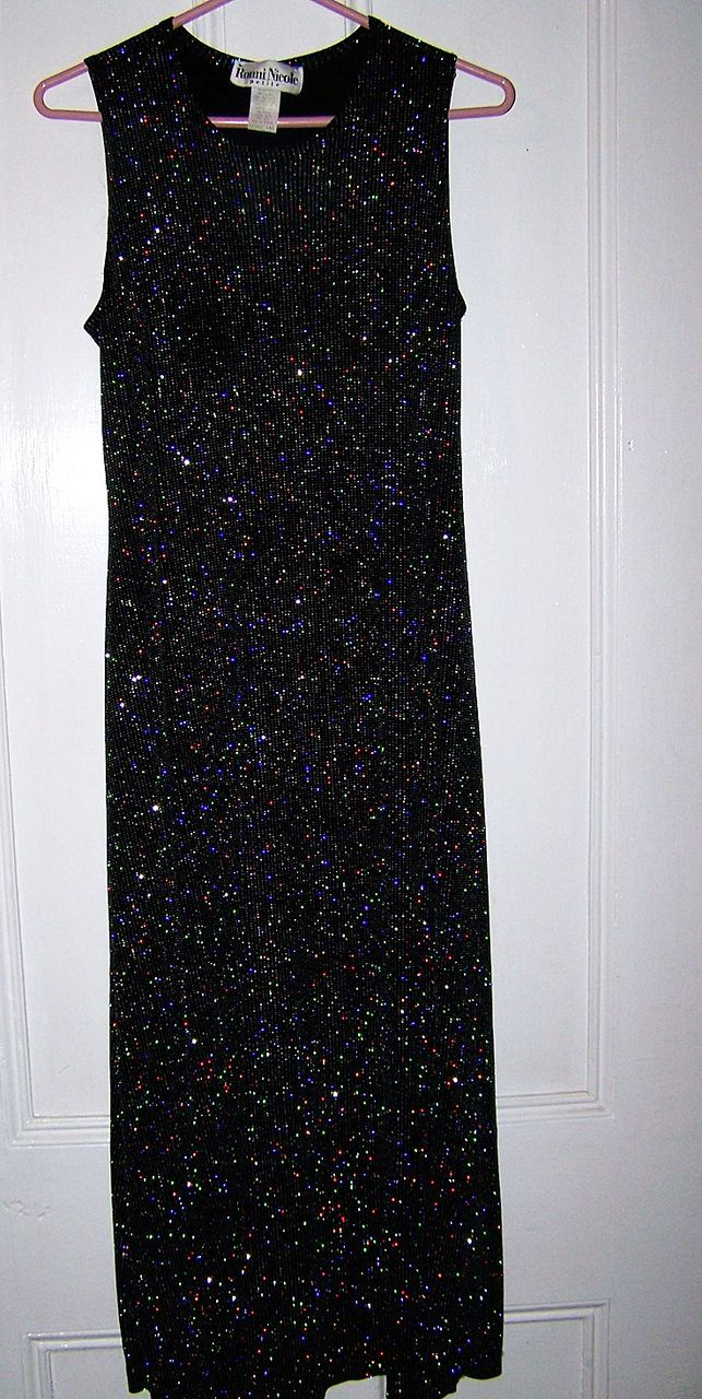 Vintage Ronni Nicole Size 10 Petite Glittery Black Stretch Disco Dress C.1980's