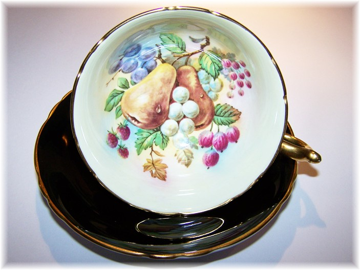 Paragon China Tea Cup & Saucer Fruit & Berries Black Ground