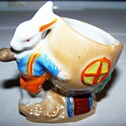 Lustre Egg Cup Bunny Rabbit House Pipe Hand Painted Japan