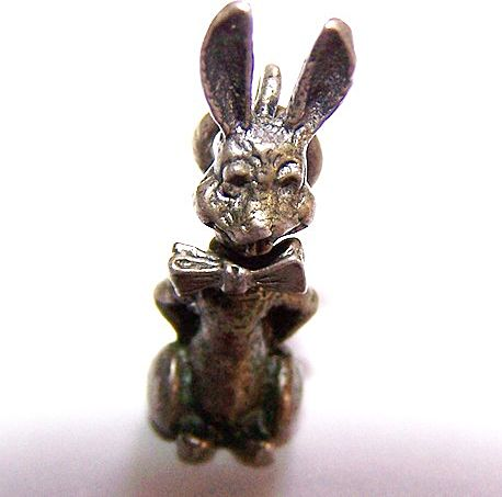 Sterling Bunny Rabbit  Mechanical Bobbing Head Charm