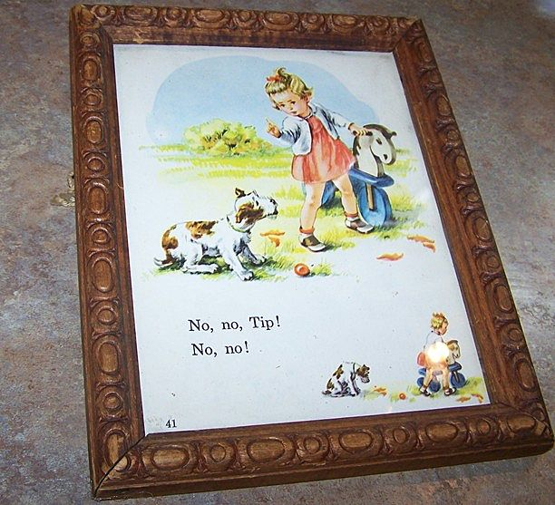 Framed Vintage School Text Book Page From Dick & Jane No No Tip
