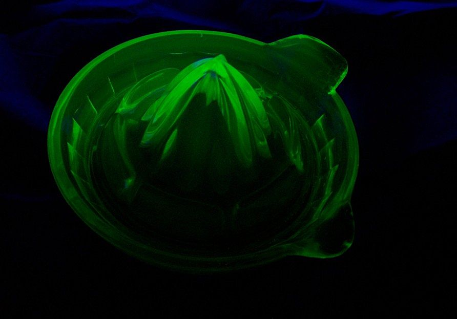Green Depression Glass Reamer Unmarked Glows Under UV Lite