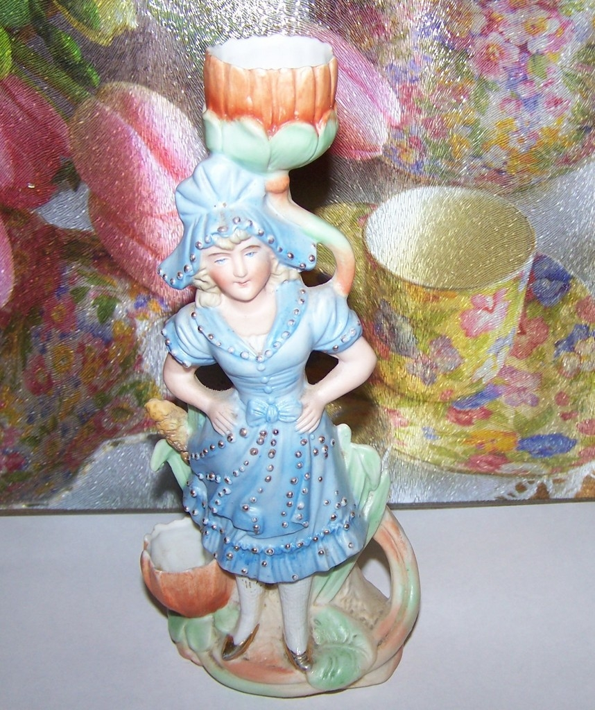 Victorian Era  Girl Bisque Figural Match / Candle  Holder Striker