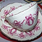 Coalport Pink Mulberry Transferware Tea Cup & Saucer Floral Wreath Garland