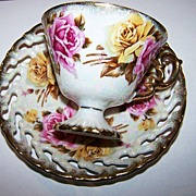 Lustre Ware Yellow & Pink Roses Motif Tea Cup & Saucer