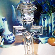 Vintage Glass Cross Crucifix Candlestick
