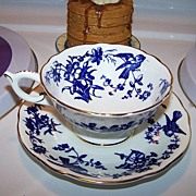 Porcelain Blue Bird Tea Cup & Saucer Coalport England