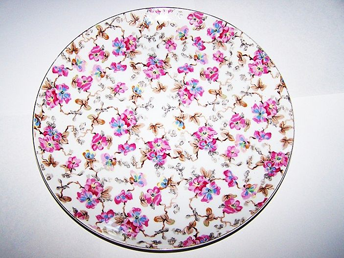 ESD Japan Transferware with  Hand Painted Accents Chintz Plate 10.5""