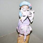 Decorative Colonial Lady Figurine ~ Musical Lyre / Harp