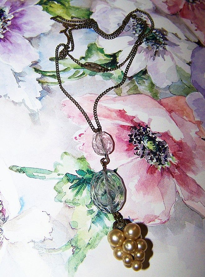 Delicate Vintage Necklace Etched Glass Floral Motif Faux Pearl Grape Cluster