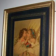 Charming Framed Victorian Era Print Two Little Girls Kissing with Doll