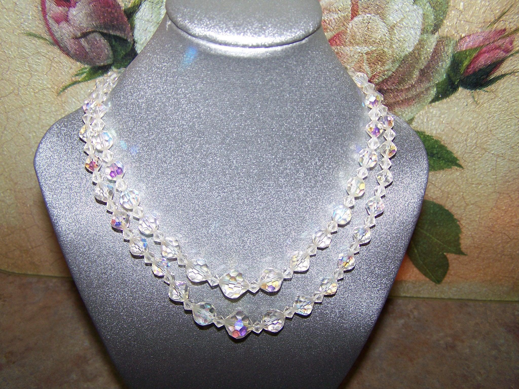 Mid Century Double Stand Faceted Aurora Borealis Crystal Necklace 16""