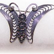 Art Nouveau Style Butterfly Pin Beau Sterling
