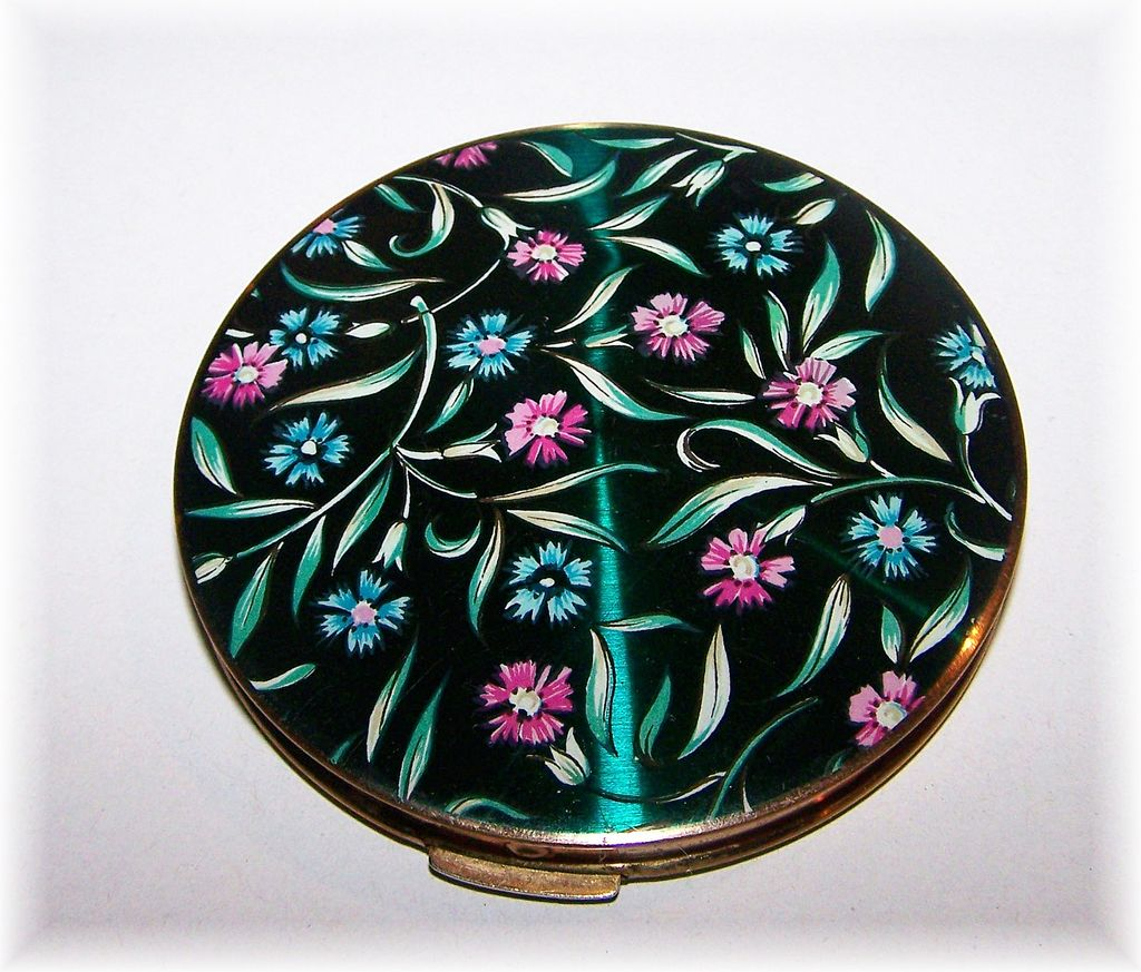 Enamel  Pink & Blue Floral Motif Compact Stratton England