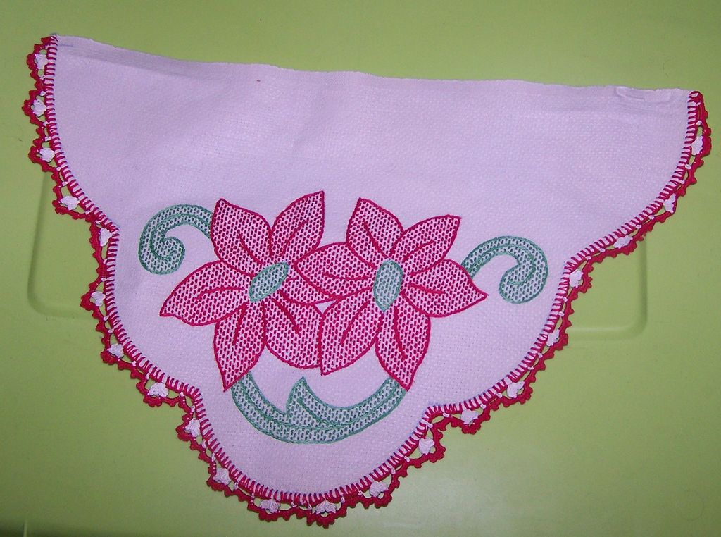 Unique Piece of Material with Embroidered Poinsettia  Flowers