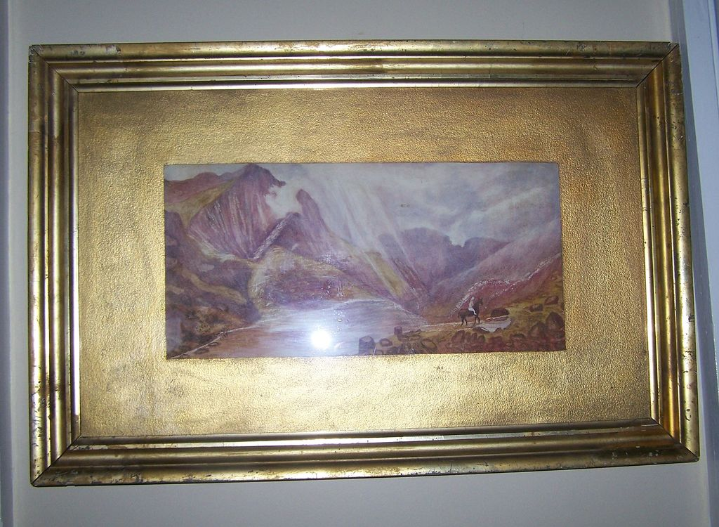 C. 1908 Framed Painting Clogwyn-  Lake -  Llanberis Wales K. Loughlin