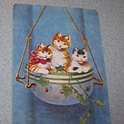 Colored Vintage Postcard Kitty Cats in Flower Pot C. 1920's