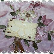 Carved Bone Brooch / Pin Floral Motif Japan