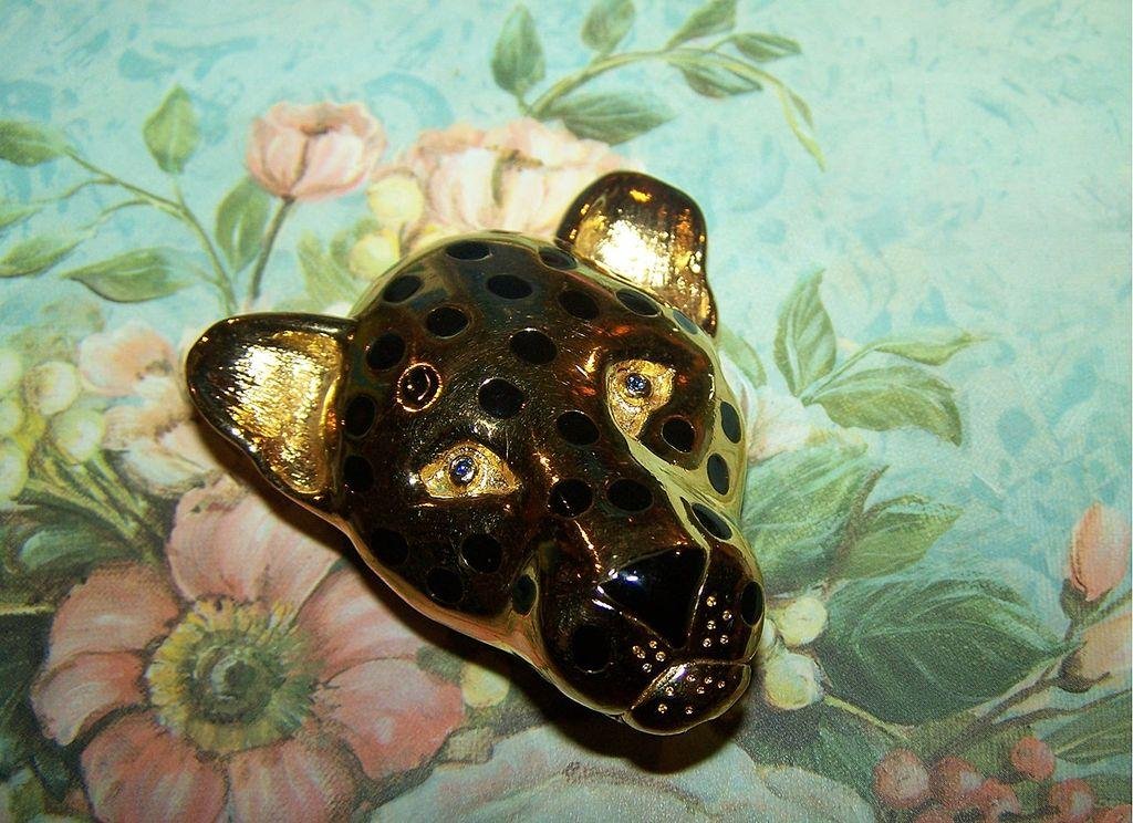 Vintage Designer Signed Carolee Spotted Leopard Pin