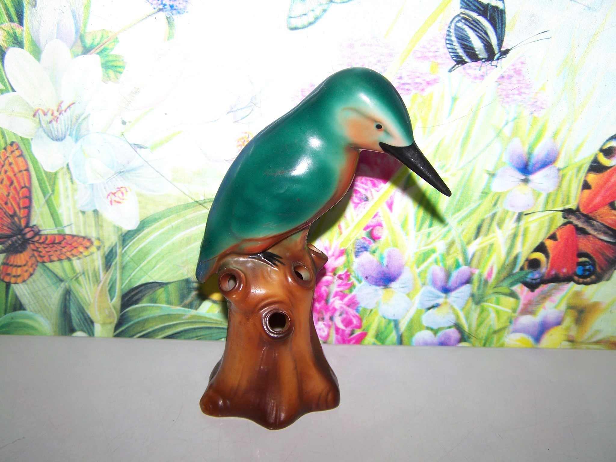 L Furniture Warehouse Victoria Bc Of Hand Painted Kingfisher Bird Flower Frog Impressed 6829