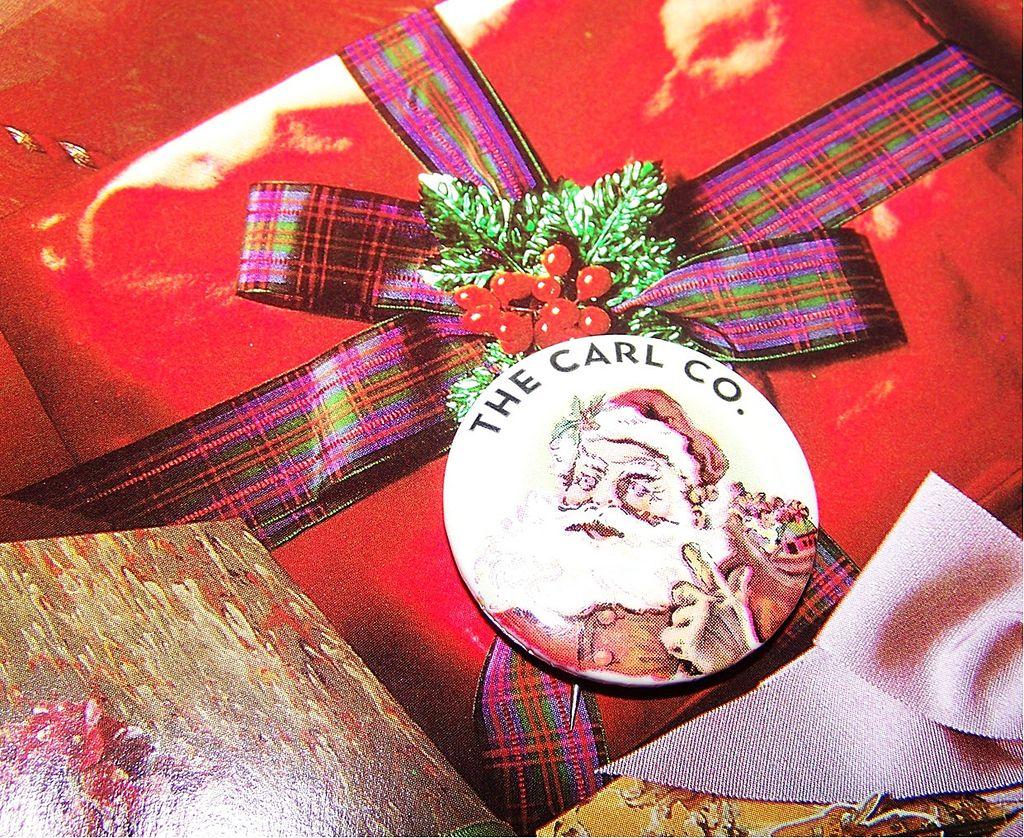 The Carl Co. Celluloid Santa Claus Christmas Xmas   Advertising Pinback
