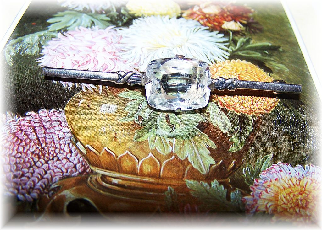 Sterling Art Deco Style Faceted Rock Crystal Bar Pin