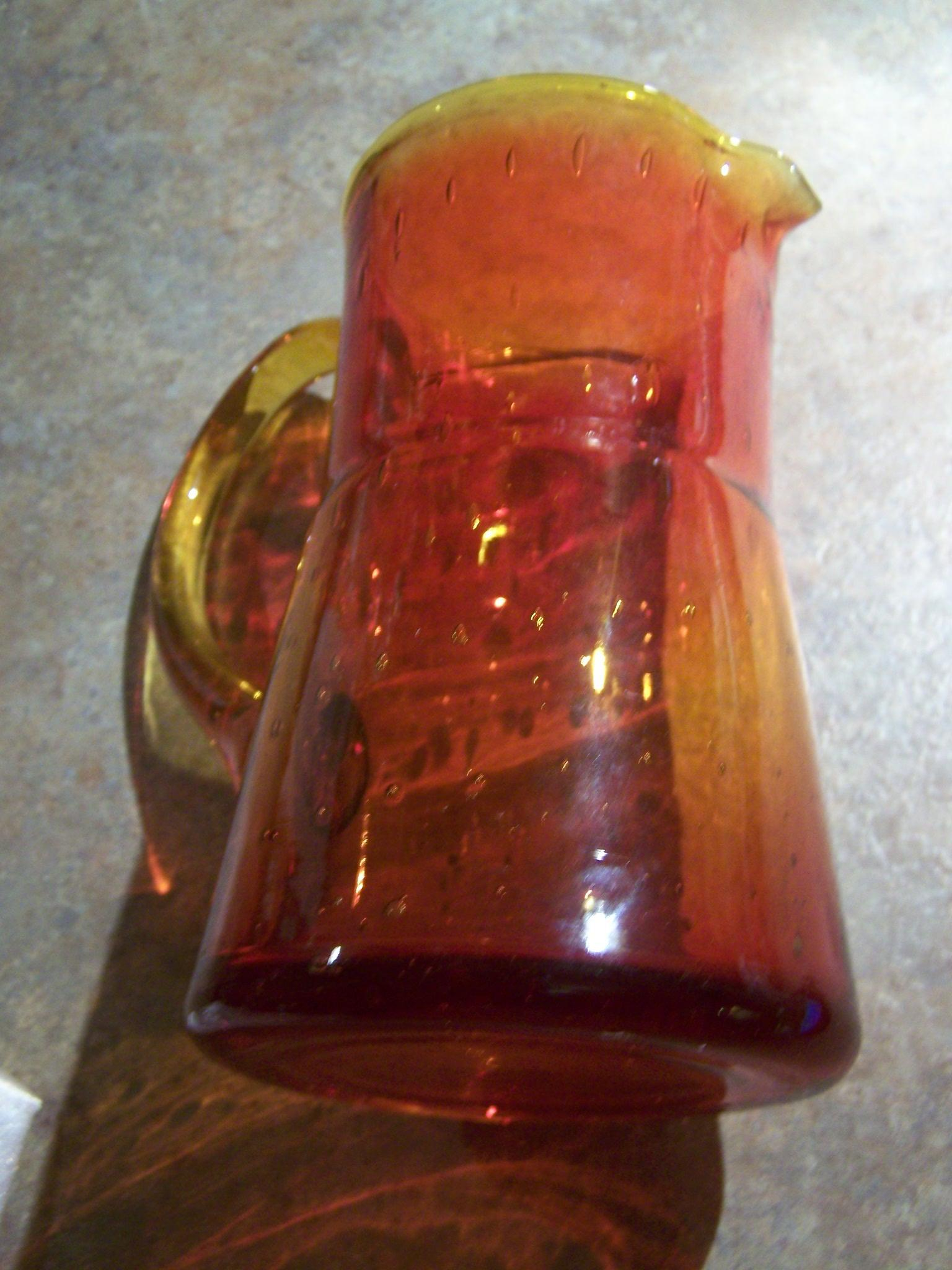 "Exceptional Vintage Orange Amberina Glass Pitcher 6"" Controlled Style Bubble Theme"