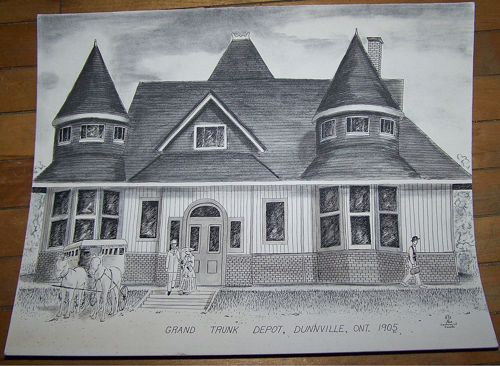 "Pencil Ink Drawing Titled "" Grand Trunk Depot Dunnville Ont 1905 """