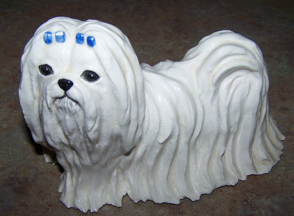 SKS Originals Ceramic Maltese Dog Figurine C. 1974