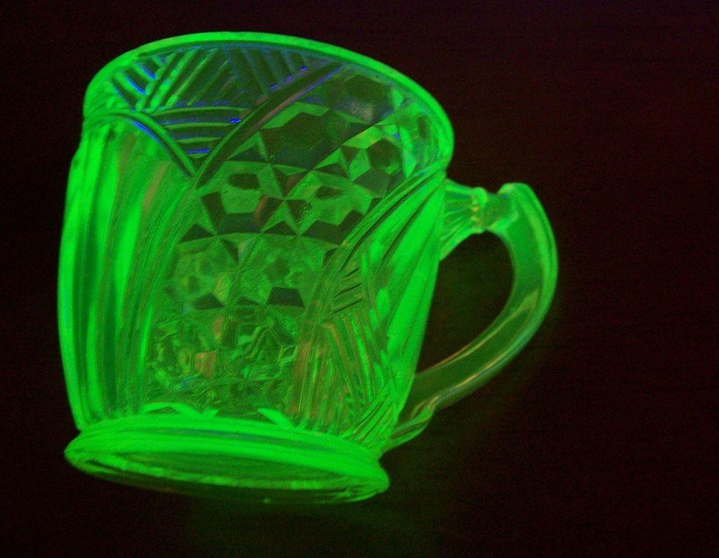 Victorian  Era  Vaseline Pressed Glass Mug / Cup