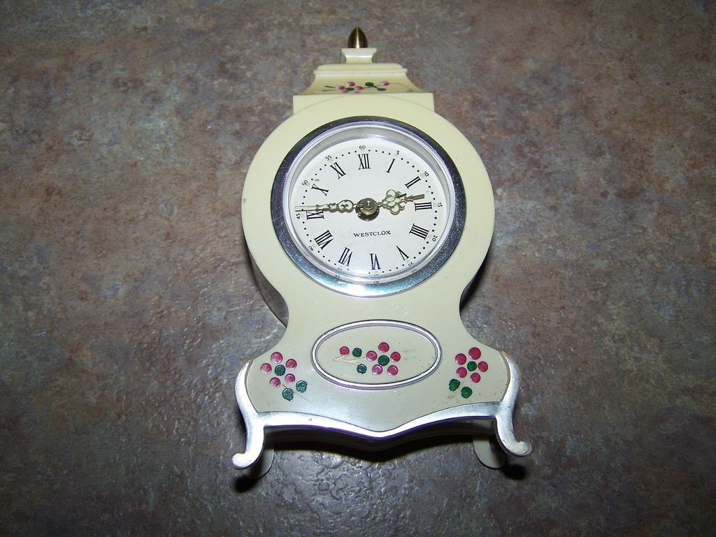 Vintage Hand Painted Plastic Westclox Wind Up Alarm Clock