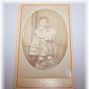 Sweet Carte de Visite Little Girl Holding Her Doll