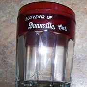 Block Optic Souvenir Ruby Glass Tumbler Dunnville , Ont Canada