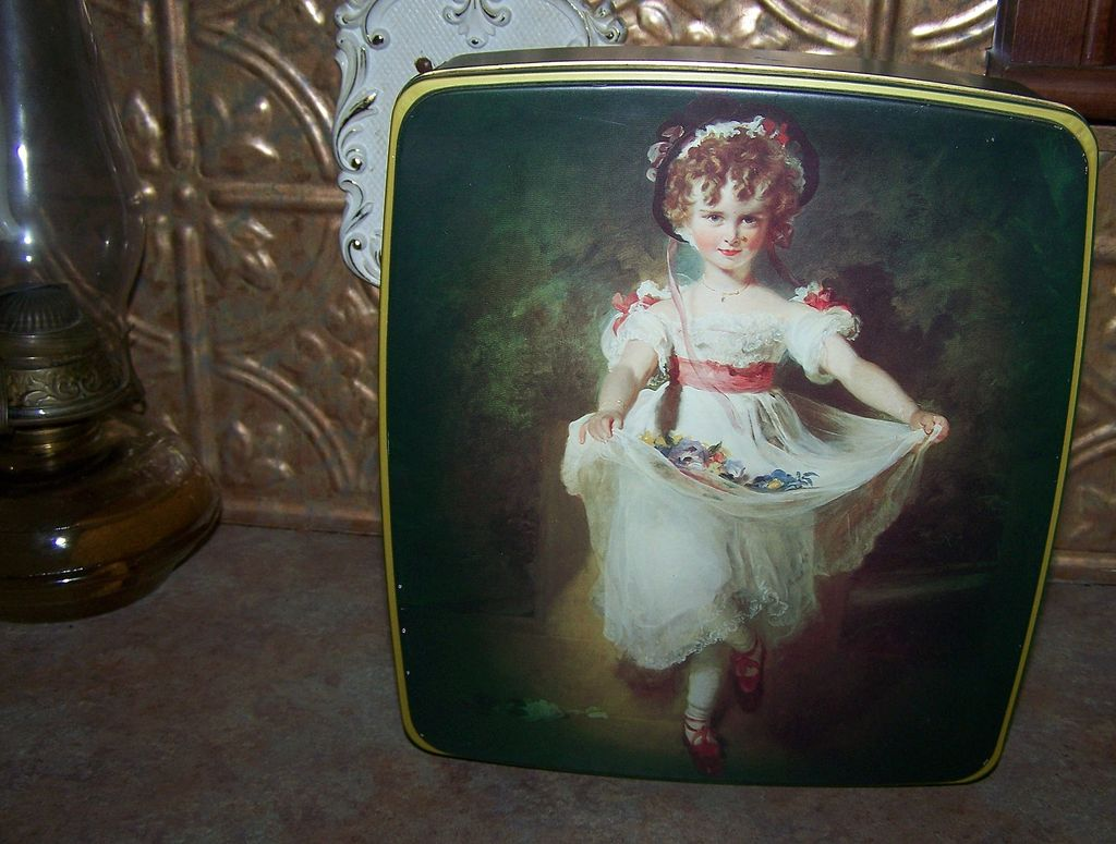 Lovely Vintage Fox's English Biscuit Tin Little Lady