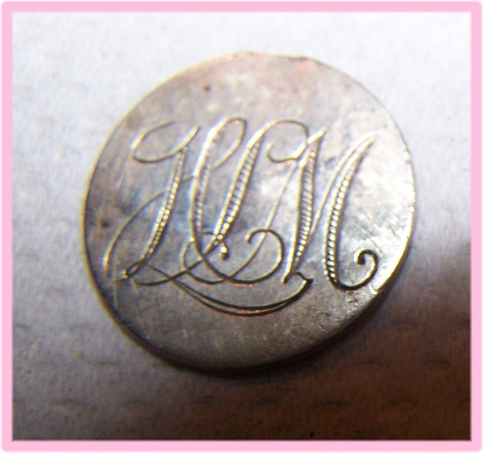 "GREAT BRITAIN Victoria 3 Pence Love Token Coin Engraved ""HLM"""