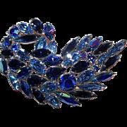 Designer Quality Blue Aurora Borealis Rhinestone Brooch