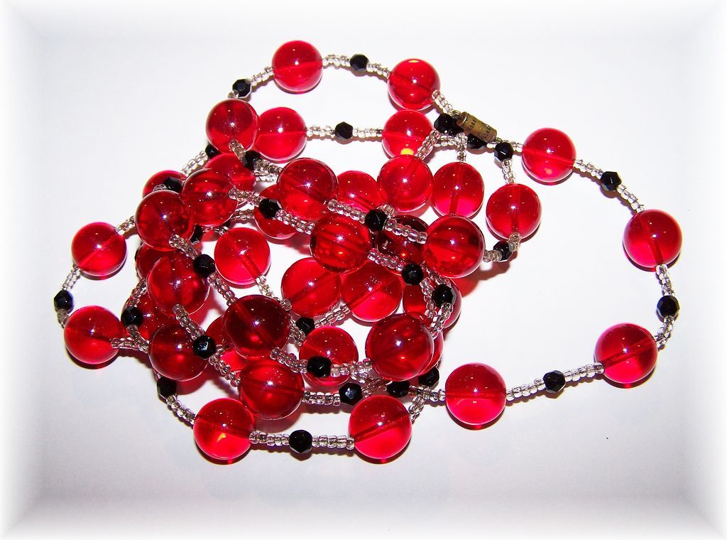 Cherry Red Glass Ball Bead Necklace Flapper Girl Style 52""
