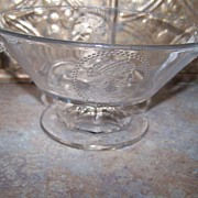 Rare  Vintage Pressed  Manganese   Glass Compote Portrait Medallion