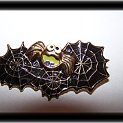 Creepy Spider & Web Halloween Brooch / Pin