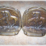 "Cast Iron Bookends "" The End Of The Trail """