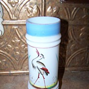 Victorian Era Bristol Glass Style Cylindrical  Vase Hand painted Heron  Motif
