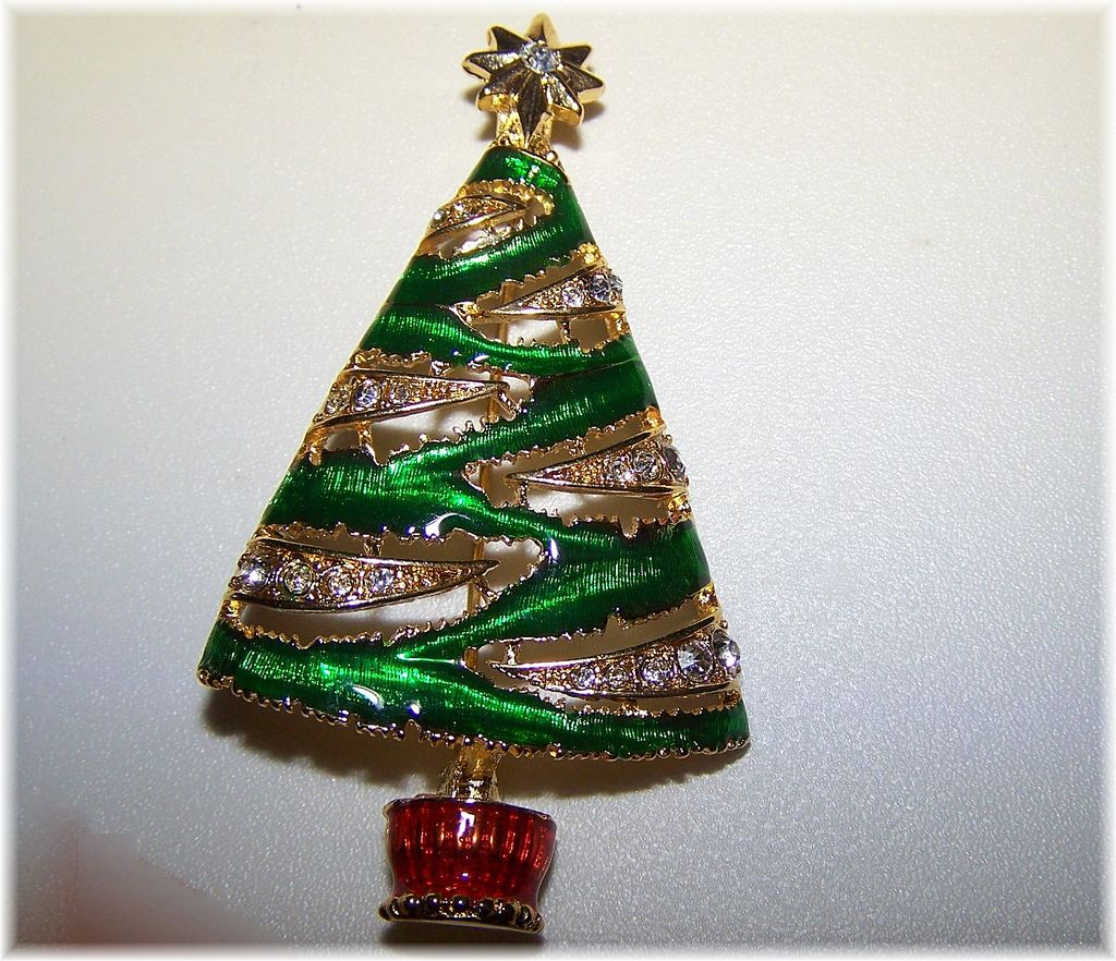 Christopher Radko Signed Christmas Tree Brooch / Pin
